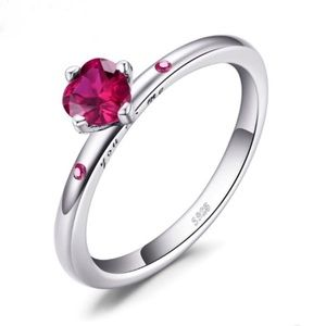 You And Me Sterling Silver Red CZ Ring